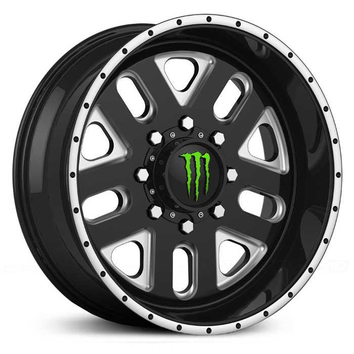 Monster Energy 539BM  Wheels Gloss Black w/ CNC Milled Accents & Green Cap