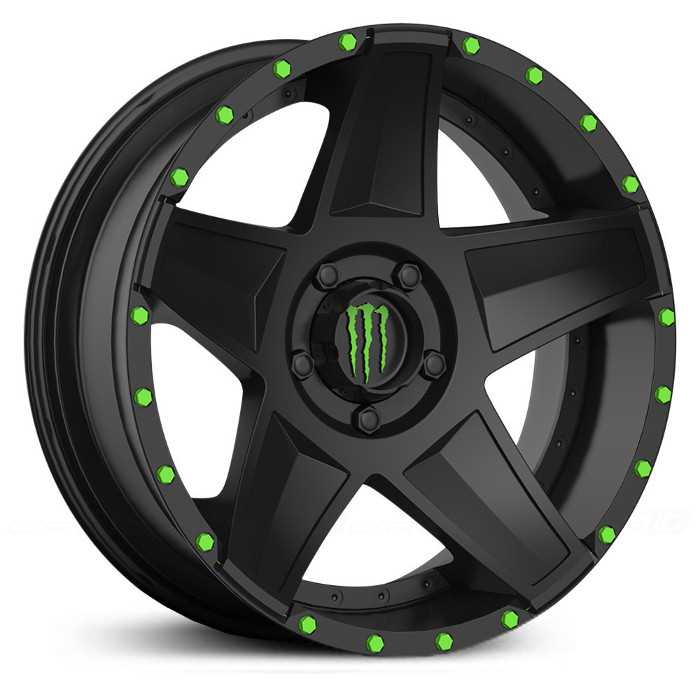 Monster Energy 648B  Wheels Satin Black w/ Green Cap & Matching Green Bolts