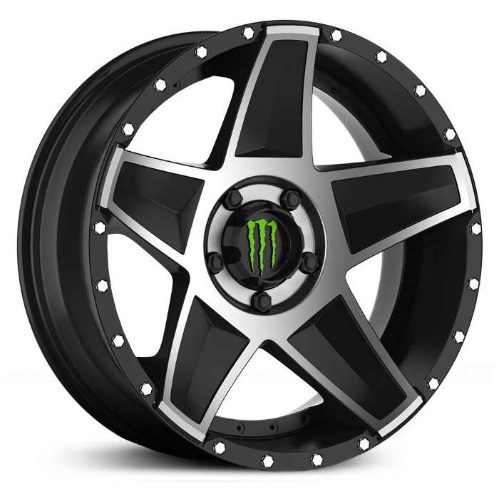 Monster Energy 648MB  Wheels Gloss Black w/ Mirror Machined Accents & Green Cap
