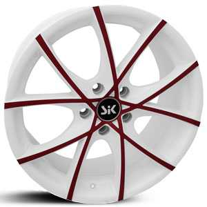 SIK 56  Wheels White w/ Red Accents