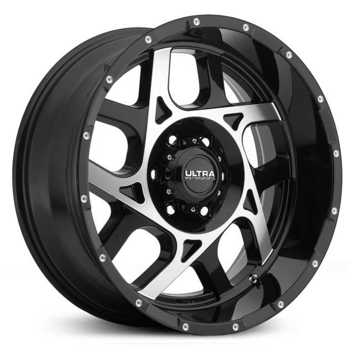 Ultra 250U Colossus  Wheels Gloss Black w/ Diamond Cut Face & Milled Dimples