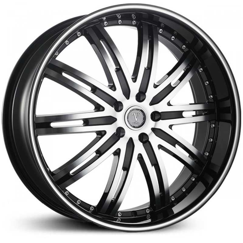 Velocity 865B  Wheels Black/Machined Milled Lip