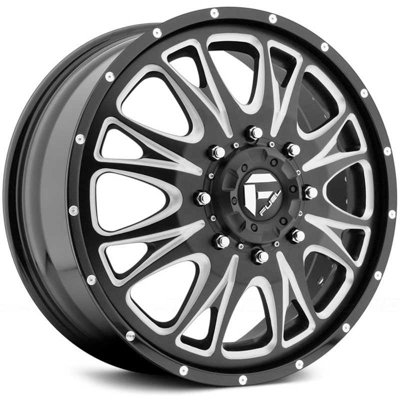 Fuel Offroad D213 Throttle Dually  Rims Black Milled (Front)