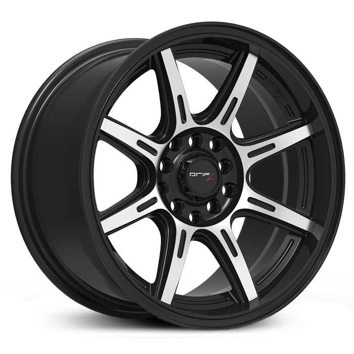 Drifz 308MB Spec-R  Wheels Gloss Black w/ Machined Accents