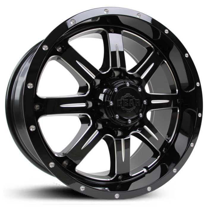 Gear Alloy 726BM Big Block  Wheels Gloss Black with CNC Milled Accents