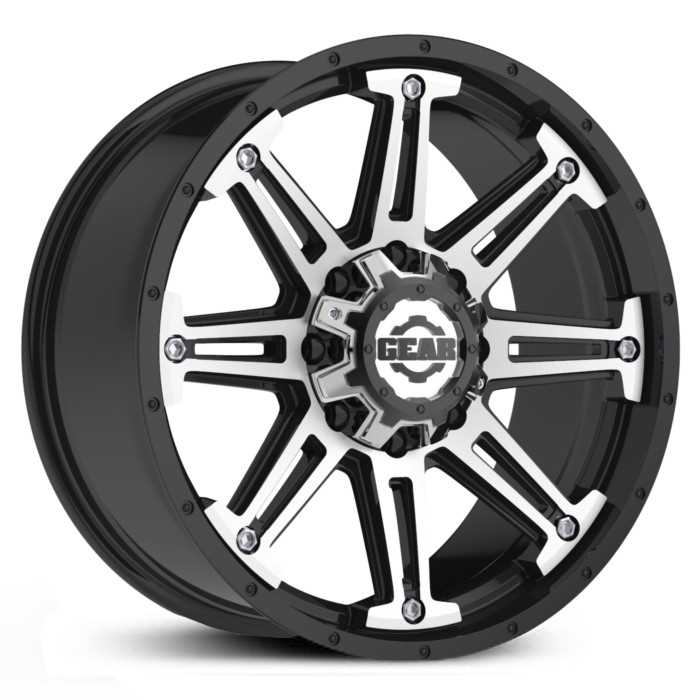 Gear Alloy 741MB Mechanic  Wheels Gloss Black with Mirror Machined Accents