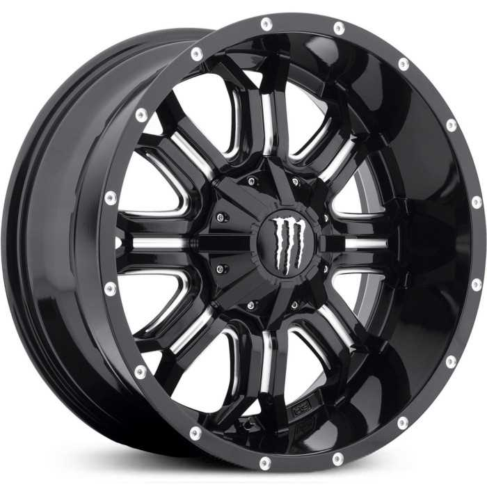 Monster Energy 535BM  Wheels Gloss Black w/ Milled Accents & Chrome M-Claw Cap