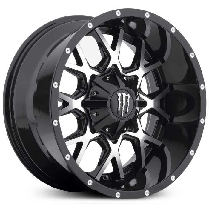 Monster Energy 645MB  Wheels Gloss Black w/ Machined Face & Chrome M-Claw Cap