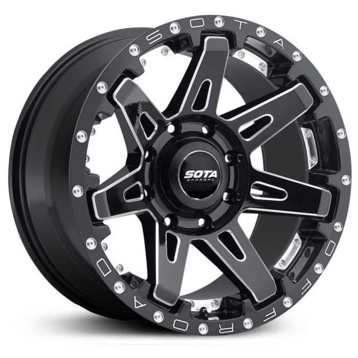 SOTA Offroad 568DM B.A.T.L.  Wheels Death Metal Gloss Black w/ CNC Milling