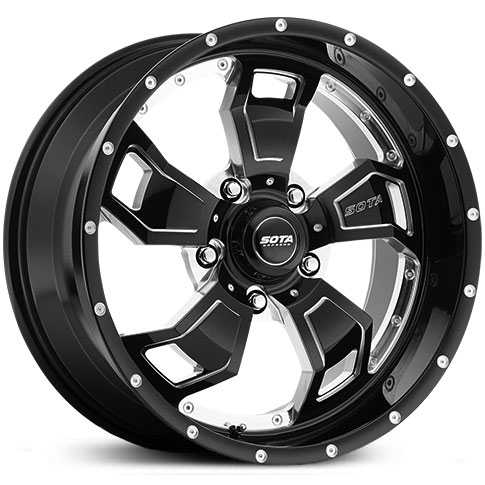 SOTA Offroad 566DM S.C.A.R.  Wheels Death Metal Gloss Black w/ CNC Milling