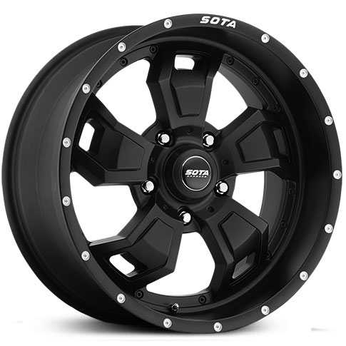 SOTA Offroad 566SB S.C.A.R.  Wheels Stealth Satin Black w/ Machined Lip Accents