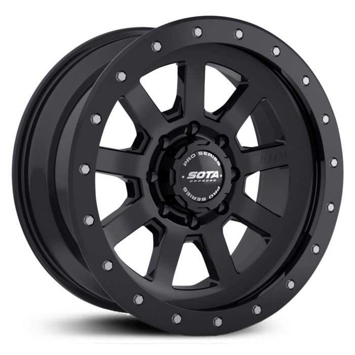 SOTA Offroad 320SB S.S.D.  Wheels Stealth Satin Black w/ Machined Lip Accents
