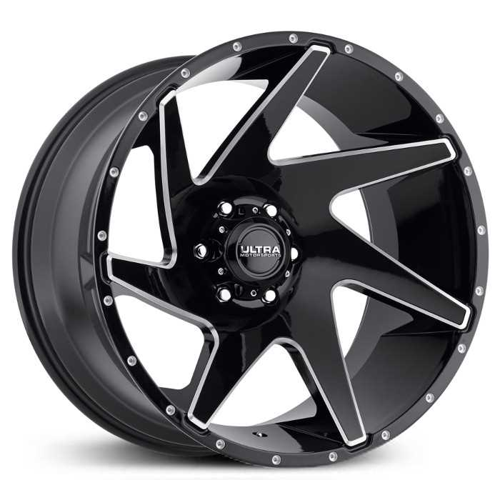 Ultra 206BM Vortex  Wheels Gloss Black w/ Milled Accents & Clear-Coat