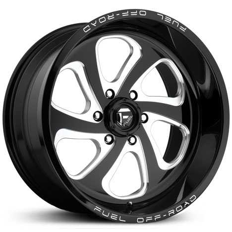 Fuel Offroad D587 Flow 6 Lug  Rims Gloss Black Milled