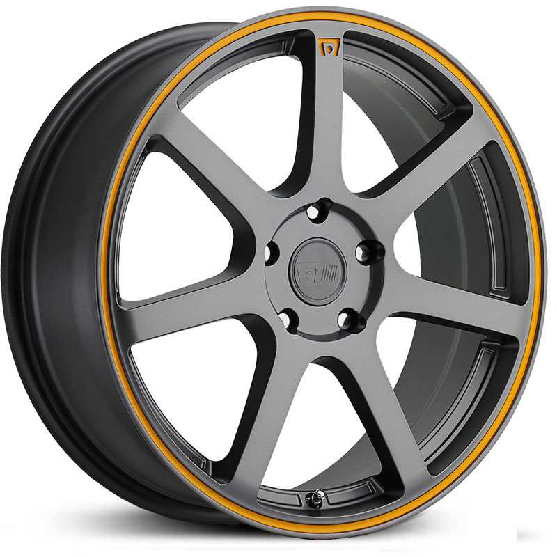 Motegi Racing MR132  Rims Matte Gray w/ Orange Stripe