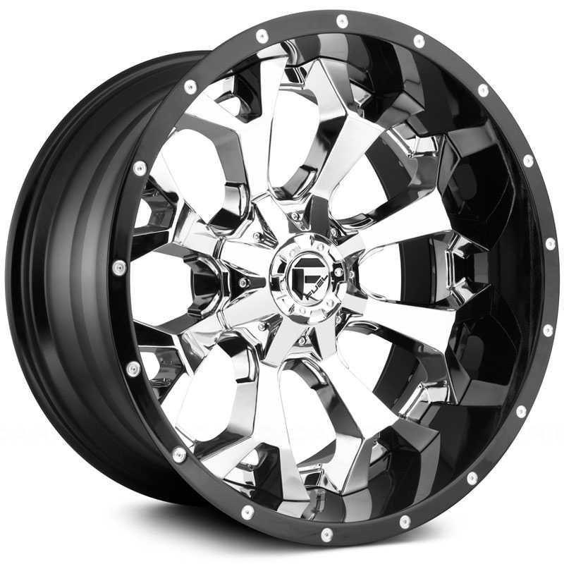 22x10 Fuel Offroad D246 Assault Chrome W Gloss Black Lip Rev Wheels