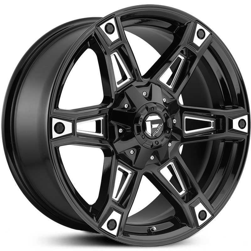 20x9 Fuel Offroad D622 Dakar Gloss Black Milled Mid Wheels And Rims