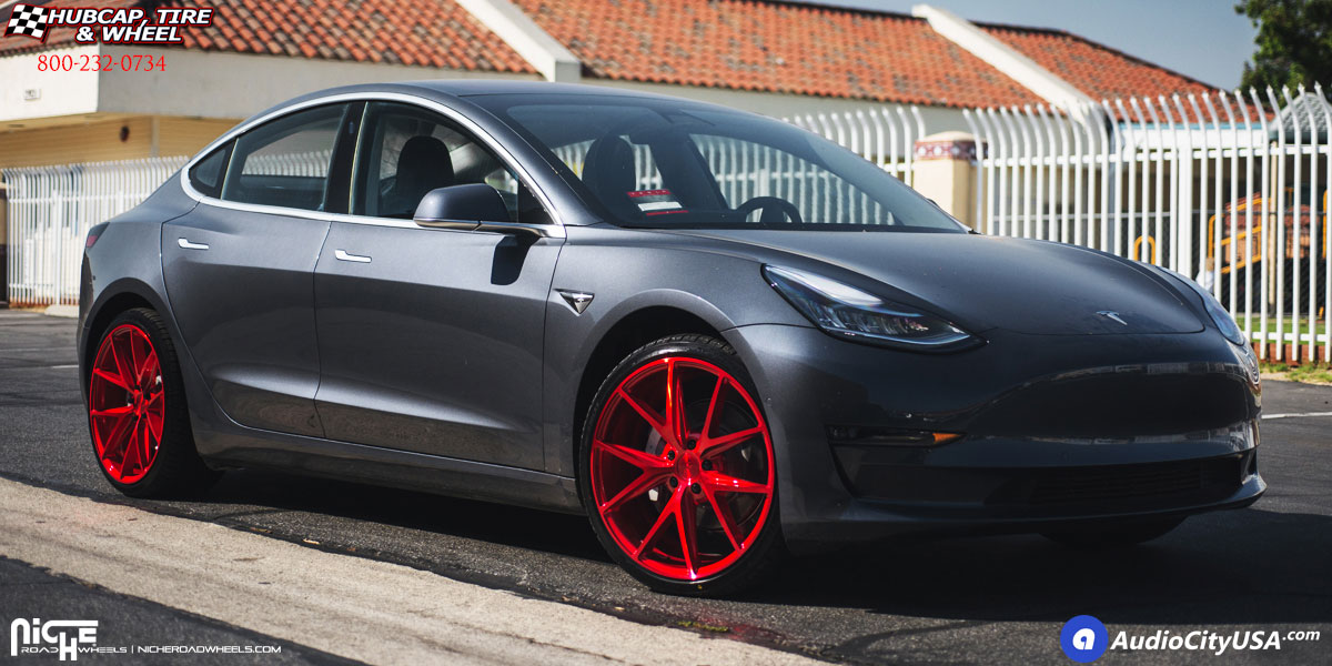 2018 Tesla Model 3 Niche M186 Misano Wheels Candy Red