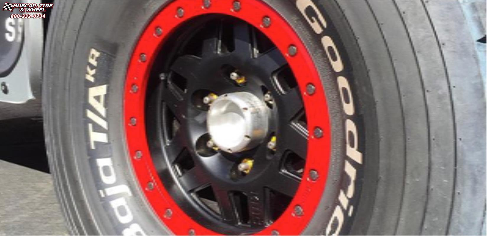 vehicle gallery/ford f 150 raptor xd series xd128 machete x  Satin Black Red Ring wheels and rims