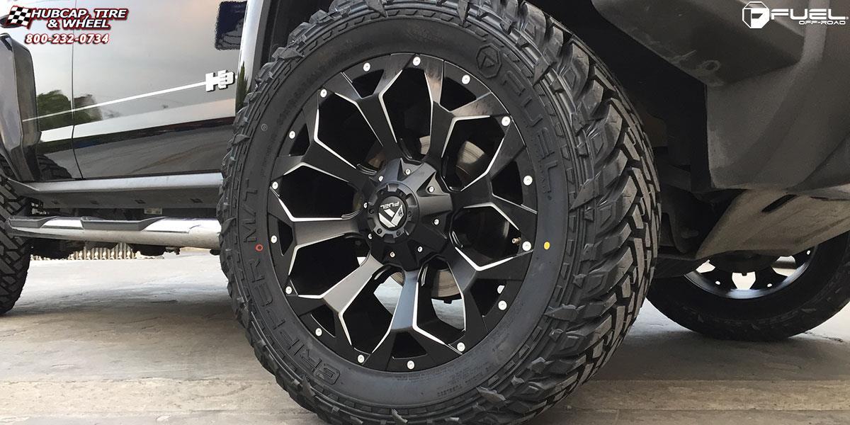 Hummer H3 Fuel Assault D546 Wheels Black & Milled