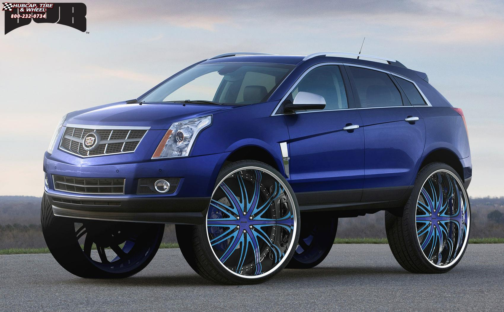 cadillac srx dub c22 flex wheels blue w black accents chrome lip. Black Bedroom Furniture Sets. Home Design Ideas