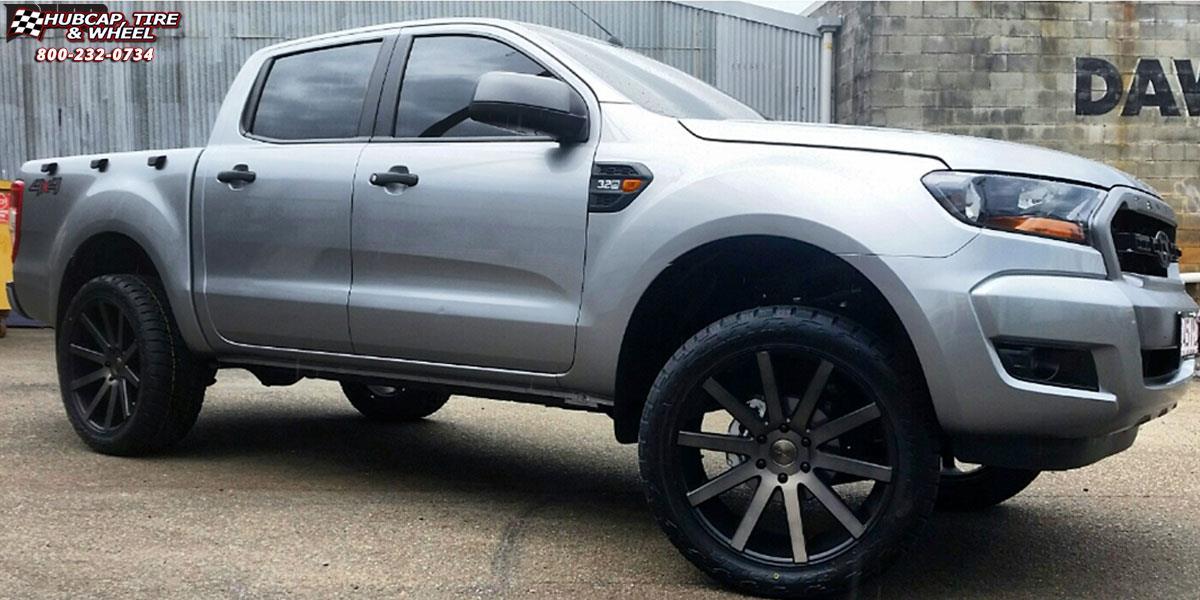 Silver ford ranger black rims