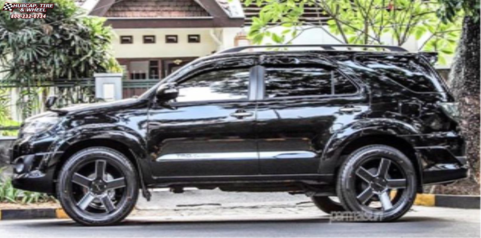 Toyota fortuner xd series km690 mc 5 satin black milled wheels and rims