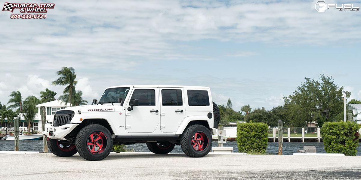 jeep wrangler fuel forged ff12 20X12  Gloss Black / Candy Red wheels and rims