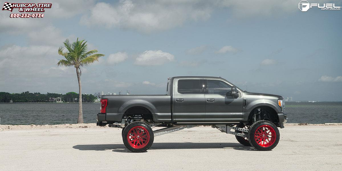 ford f 250 super duty fuel forged ff19 26X16  Brushed Candy Red wheels and rims