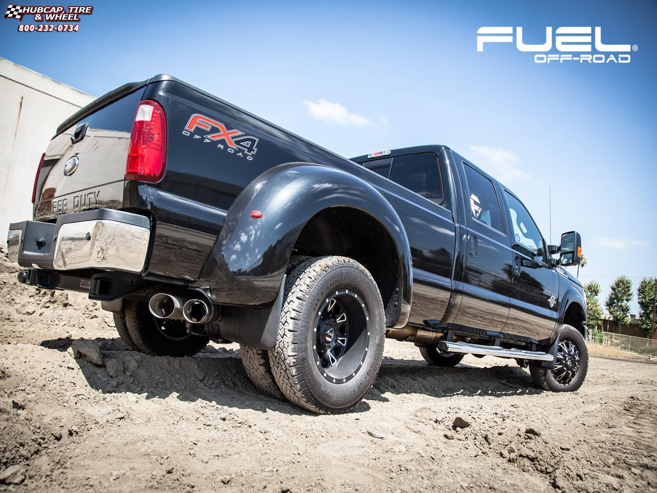Ford f 350 dually fuel throttle dually front d513 17x7 matte black milled wheels and