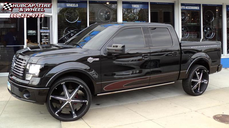 Ford F-150 Dub Big Homie III - S177 Wheels Black w/ Chrome Inserts