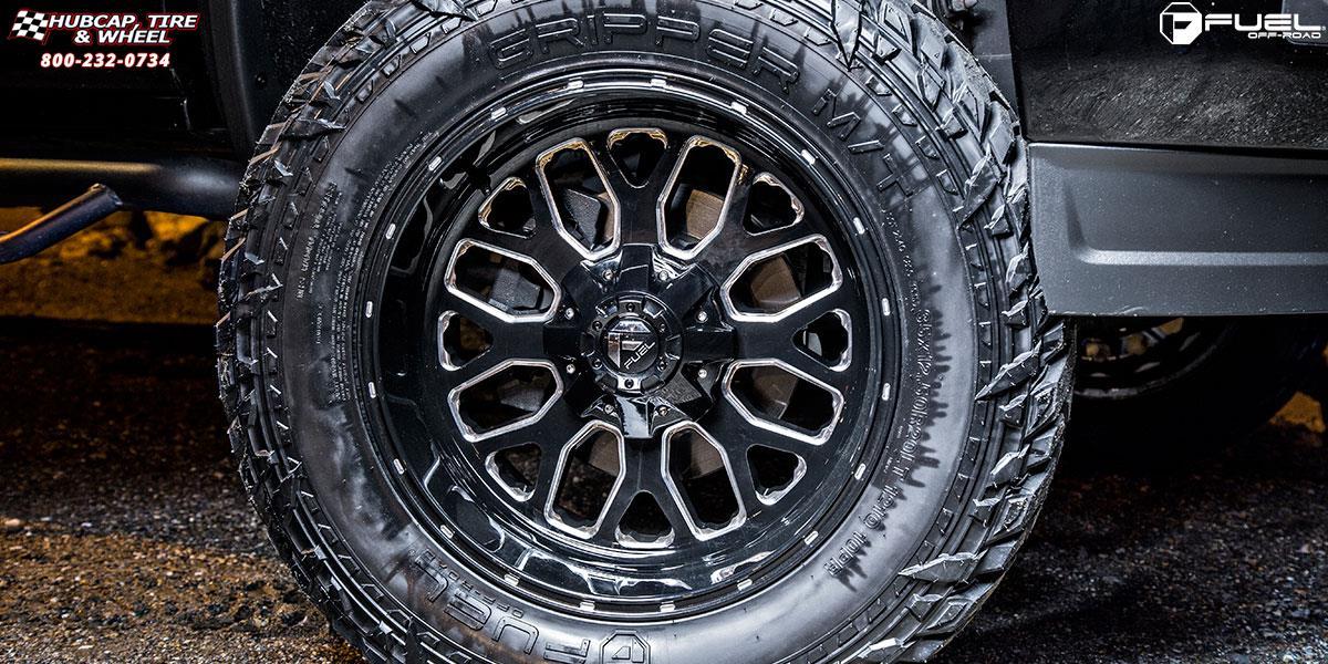 GMC Sierra 1500 Fuel Titan D588 Wheels Black & Milled