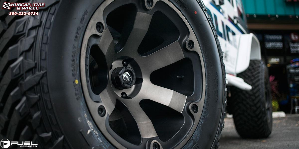 Jeep Wrangler Fuel Beast D564 Wheels Black & Machined with ...