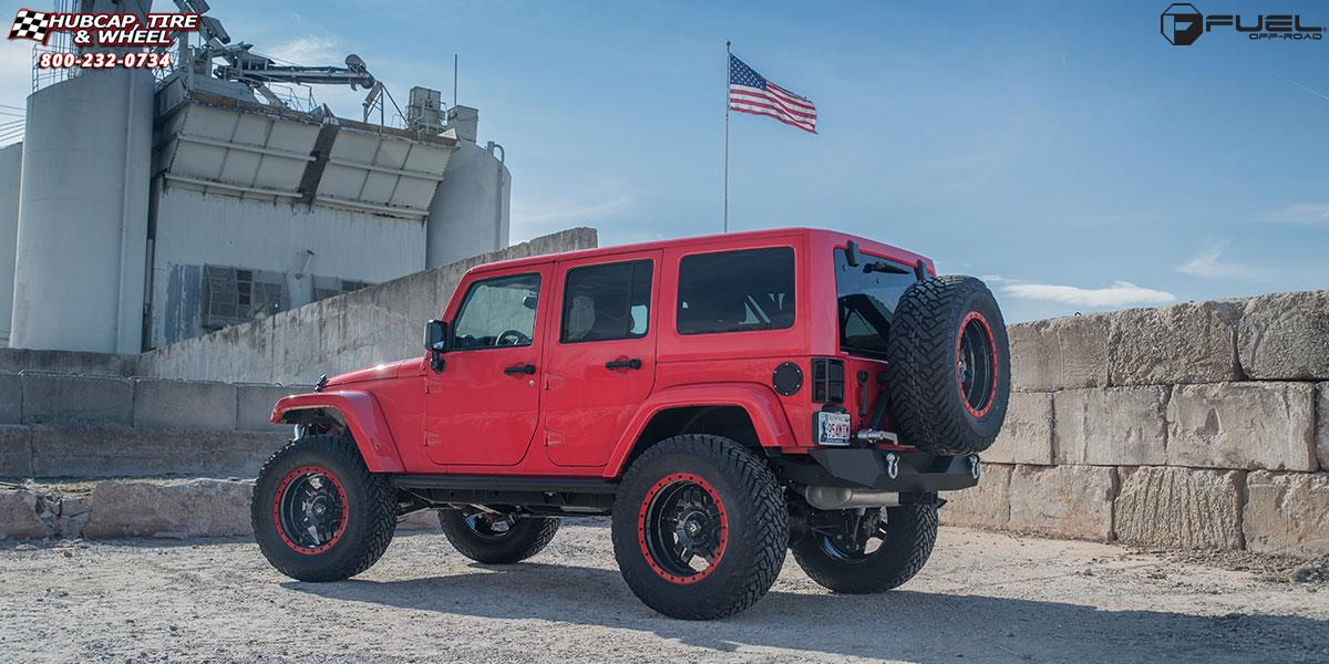 Jeep Wrangler Fuel Anza D557 Wheels Gloss Black | Color Match Red Ring