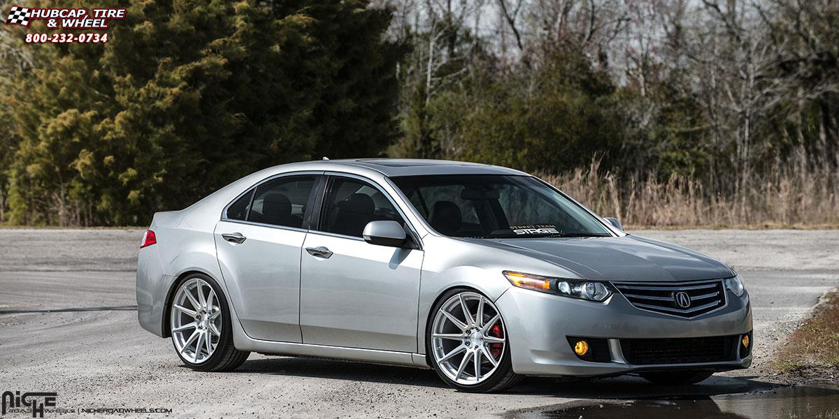 Acura TSX Niche Essen M Wheels Silver Machined - Acura tsx 18 inch rims