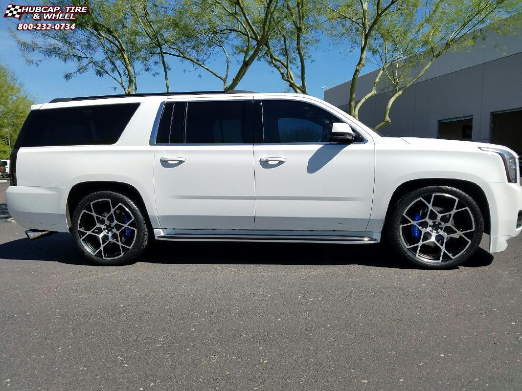 GMC Yukon KMC KM695 Crosshair Wheels Black White