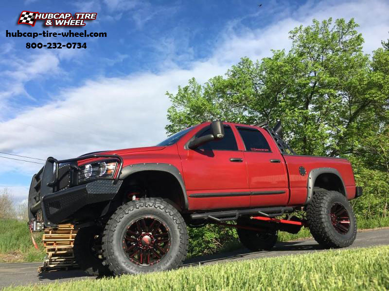 dodge ram 2500 moto metal mo978 razor  Satin Black w/ Red Accents wheels and rims