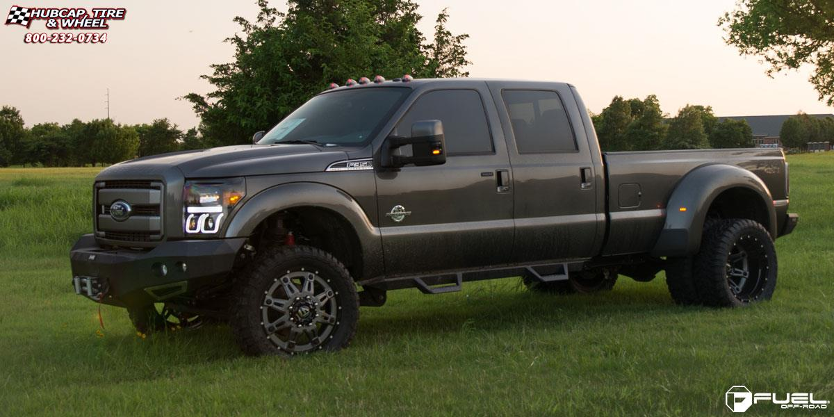Ford F-350 Super Duty Fuel Hostage II Dually Rear D232 Wheels Anthracite center, gloss black lip
