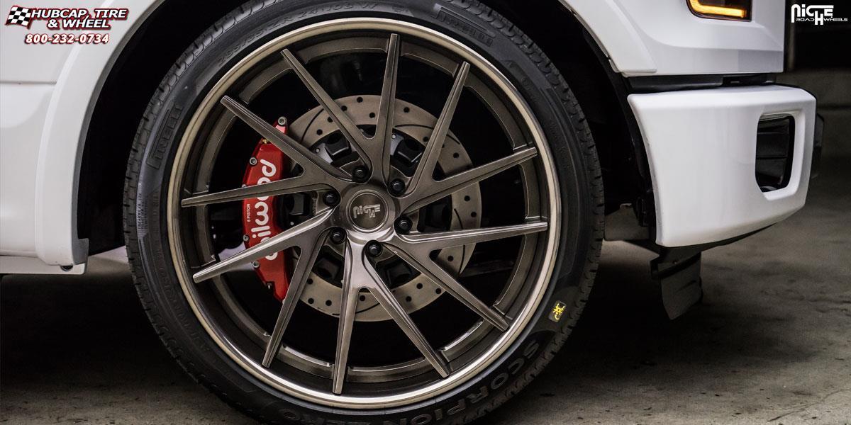 Hubcap Tire And Wheel >> Ford F-150 Niche Invert Wheels Matte Black Center, Gloss ...
