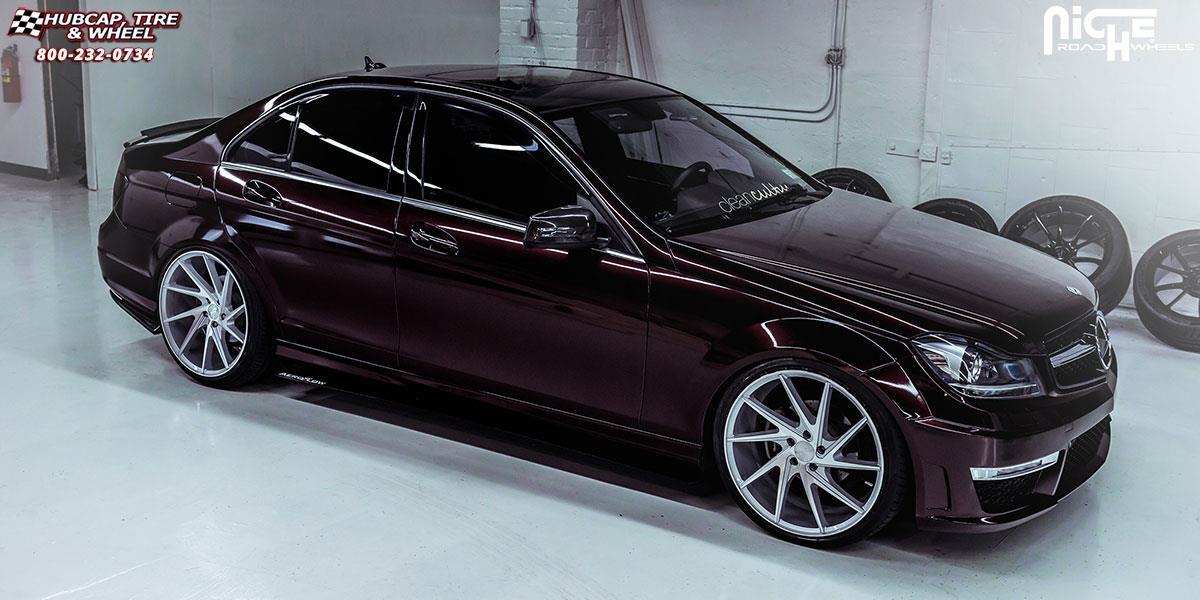 Mercedes Benz C300 Niche Invert M162 20x9 Silver Machined Wheels And Rims