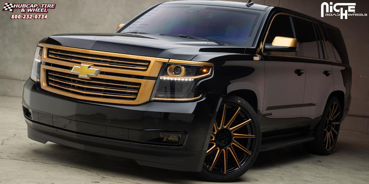 Chevrolet Tahoe Niche Surge Wheels Gloss Black w/ Brushed ...