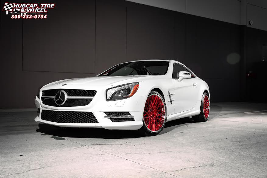 Mercedes Benz Sl550 Niche Citrine Brushed Candy Red Tint Polished Lip Wheels And Rims