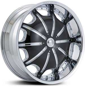 20x8.5 RockStarr Dynasty Chrome / Black Insert MID