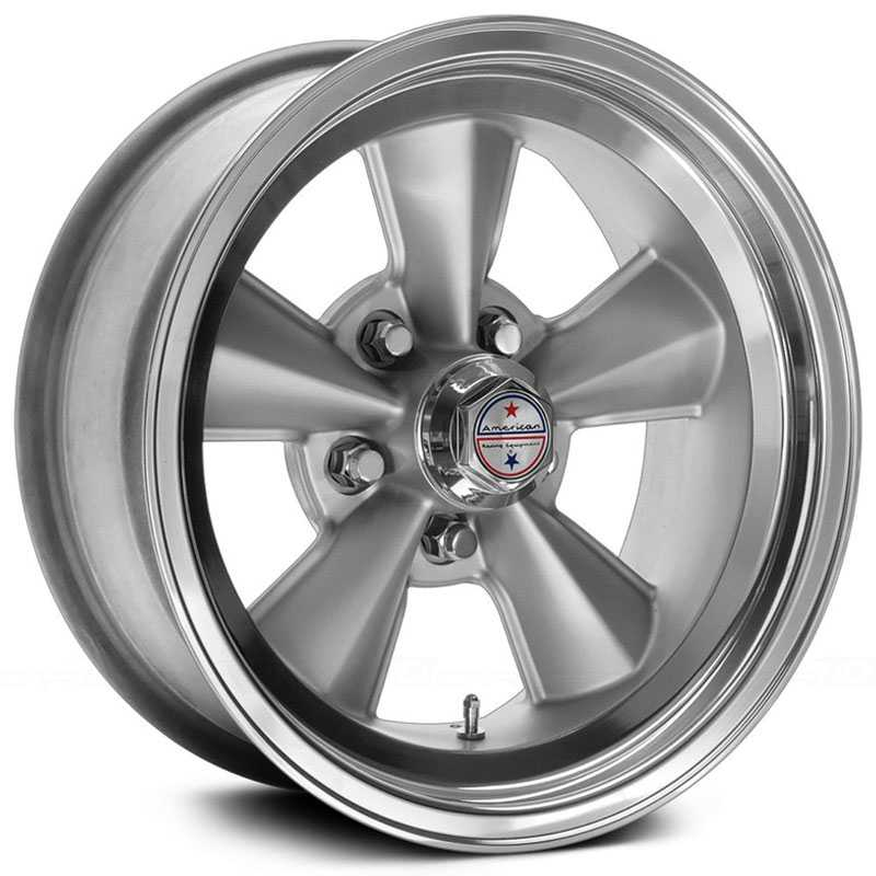 17x8 American Racing Hot Rod VNT70R Light Mag Grey Center / Polished Lip RWD