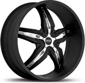 24x9.5 Status Dystany 822 Flat Black / Chrome Inserts MID