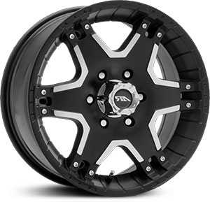 16x8 American Racing Tactic Matte Blk W/Mach. Face MID