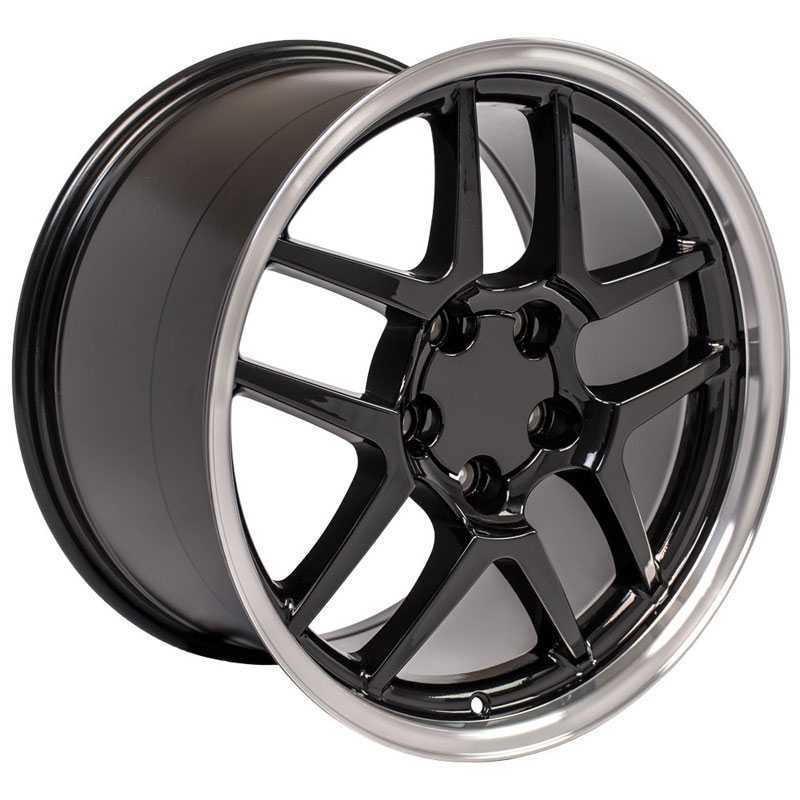 Corvette C5 Z06 Style (CV04)  Wheels Black Machined Lip