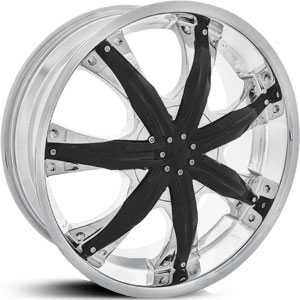 22x9 Shooz 009 Chrome / Black Accents RWD