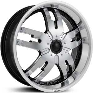 18x7.5 Starr Dominator Machined Black/Chrome Inserts RWD