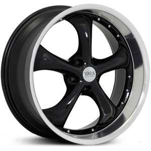 17X8 Status Retro 818 Gloss Black w/ Machined Lip RWD